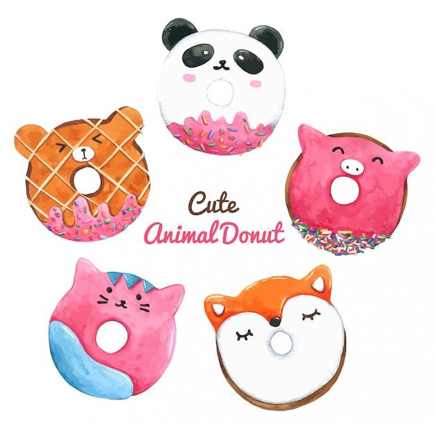 Set of watercolor donuts Premium Vector