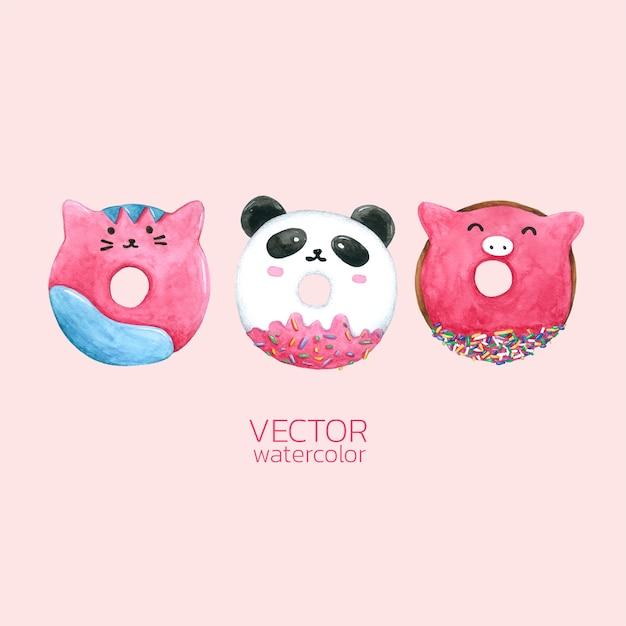 Set of watercolor donuts. Premium Vector