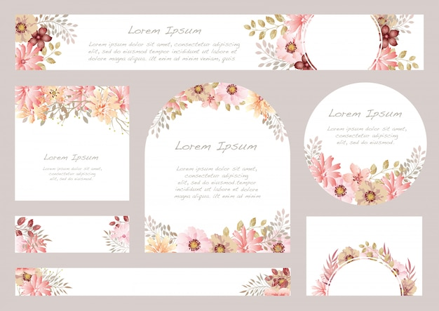 Set of watercolor floral background with text space,  illustration. Premium Vector