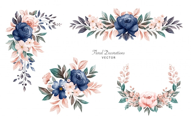 Set of watercolor floral frame bouquets of navy and peach roses and leaves. Premium Vector