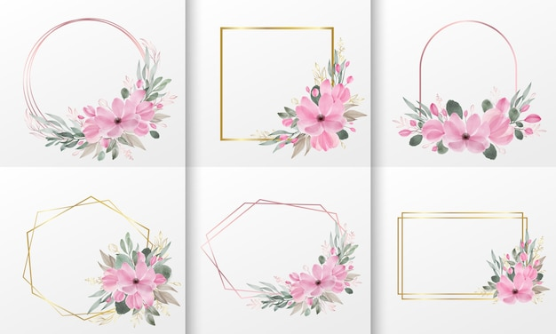 Set of watercolor floral frame Free Vector