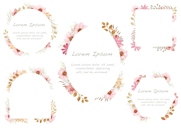 Set of watercolor floral frames isolated on a white background. . Free Vector