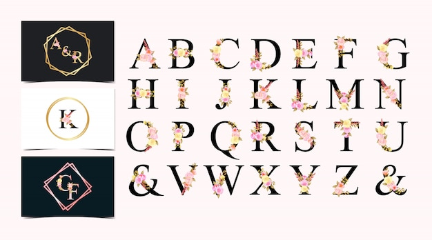 Set of watercolor floral individual alphabet with colorful flowers Premium Vector