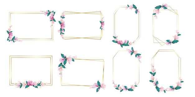 Set of watercolor flower frame for wedding monogram logo and branding logo design Free Vector