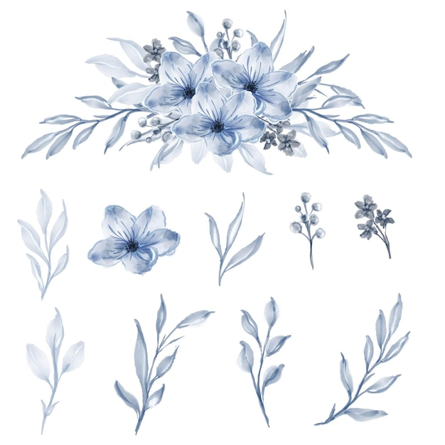 Set of watercolor flower and leaf blue Free Vector