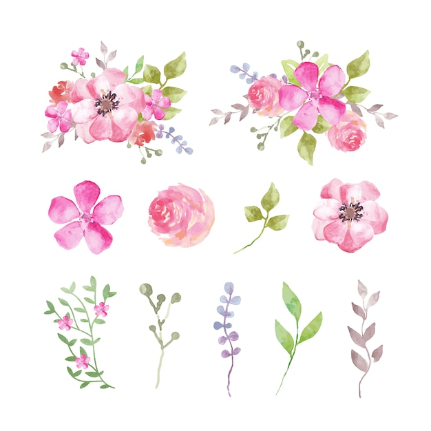 Set of watercolor flowers and leaves in pinkish tones Free Vector