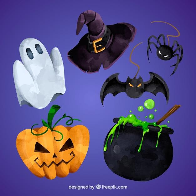 Set of watercolor halloween elements Free Vector
