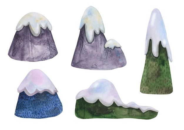 Set of watercolor hand drawn winter mountains with snow caps for skiing. Premium Vector