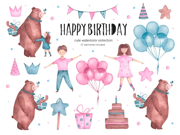 Set of watercolor happy birthday elements bear hugs balloons girl boy Free Vector