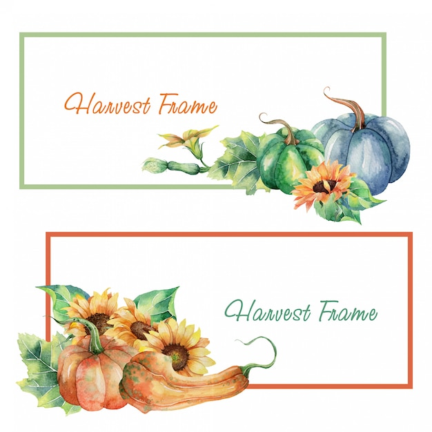 Set of watercolor harvest frame Premium Vector