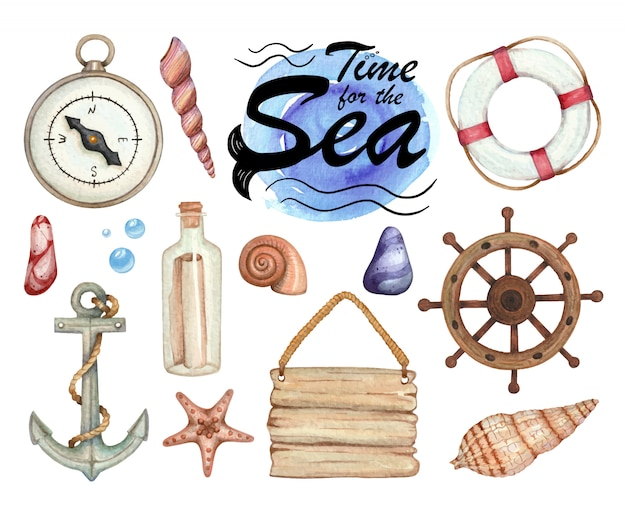 Set of watercolor illustrations of sea subject isolated Premium Vector