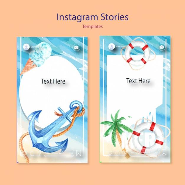 Set of watercolor instagram templates Free Vector
