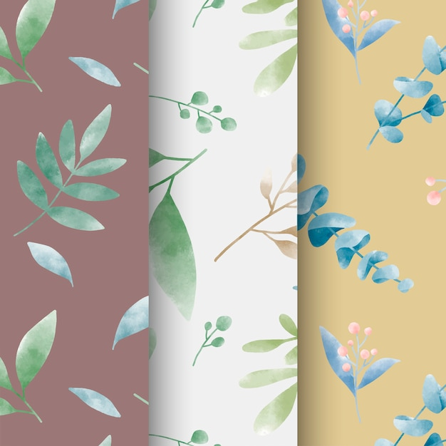 Set of watercolor leaf patterns vector Free Vector