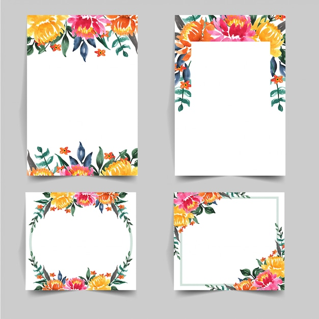 Set of watercolor lovely flower for wedding invitation Premium Vector
