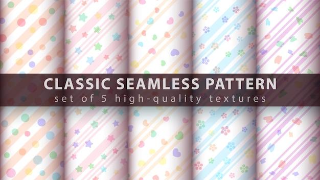 Set watercolor pattern Premium Vector