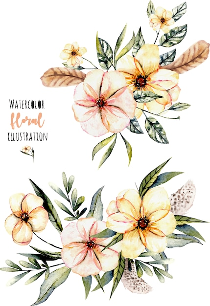 Set of watercolor pink flowers and leaves bouquets Premium Vector