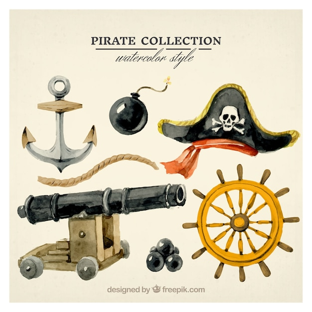 Set of watercolor pirate accessories Free Vector