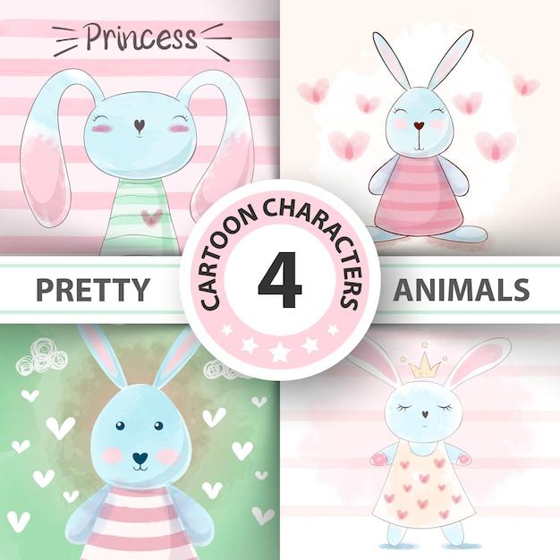 Set watercolor rabbit Premium Vector