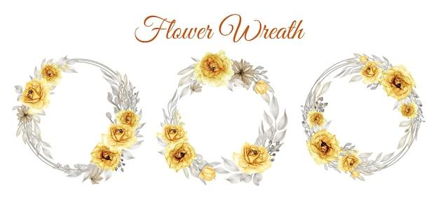 Set di corona di fiori giallo oro rosa dell'acquerello Vettore gratuito