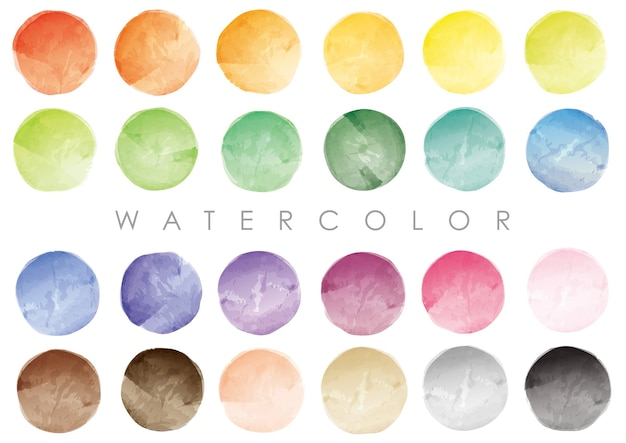 Set of watercolor round swatches or backgrounds.  vector isolated on a white background. Premium Vector