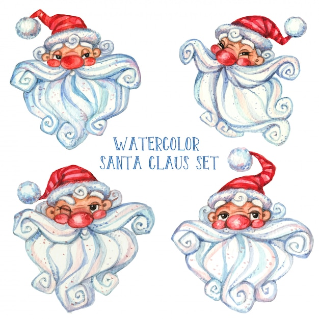 Set of watercolor santa claus. Premium Vector