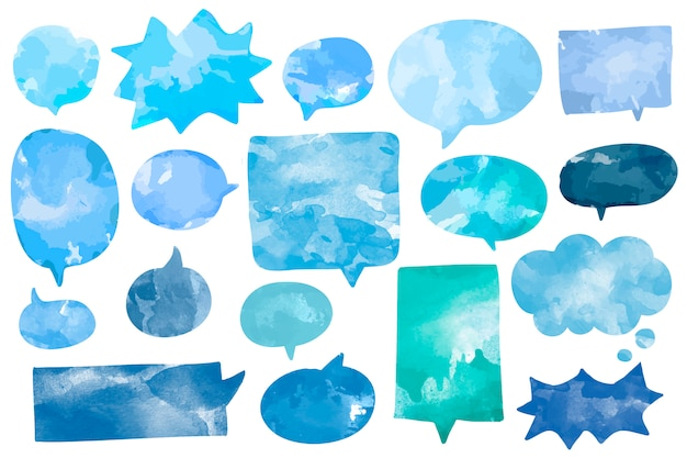 Set of watercolor speech bubbles vector Free Vector