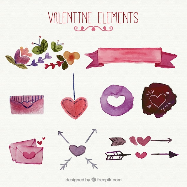 Set of watercolor valentine ornaments Free Vector