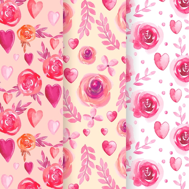 Set of watercolor valentine's day pattern Free Vector