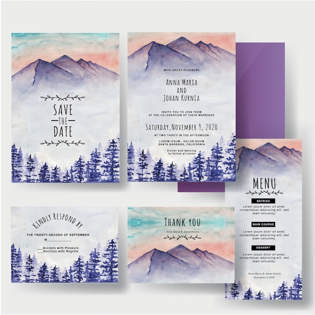 A set of watercolors winter mountain and pine wedding invitations Premium Vector