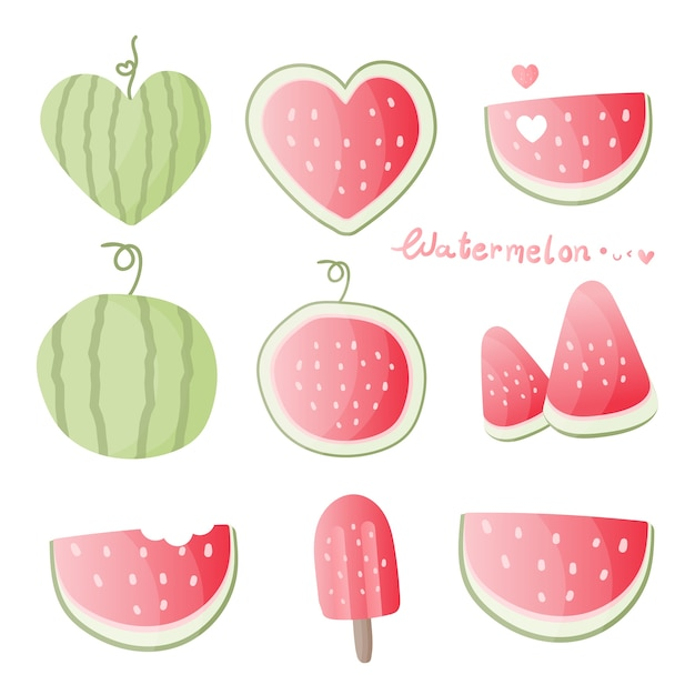 Set of watermelon in different shapes Premium Vector