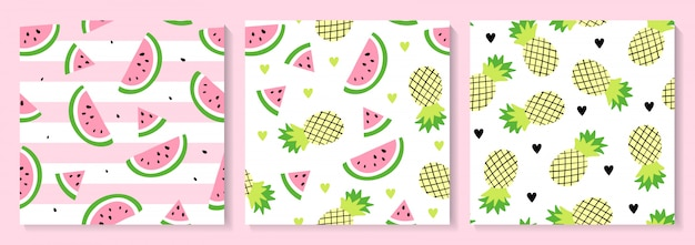 A set of watermelon and pineapple seamless pattern Premium Vector