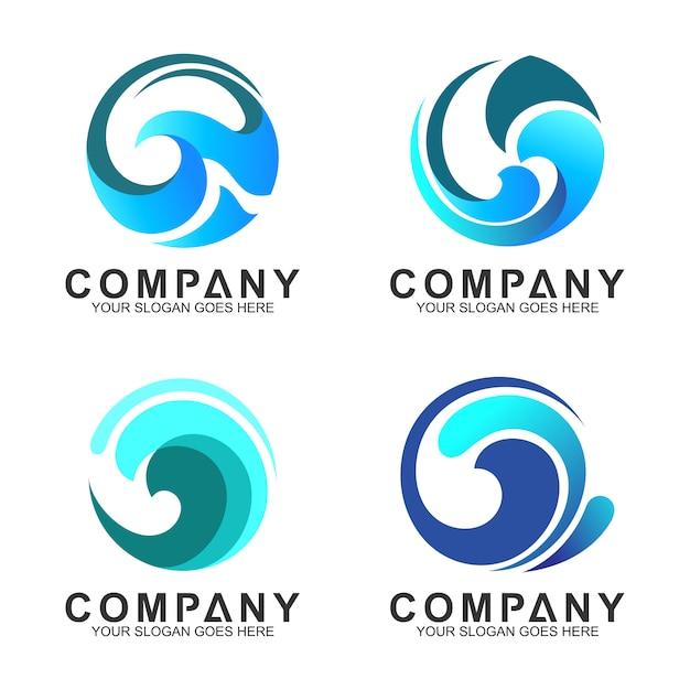 Set of wave logo in circle shape Premium Vector