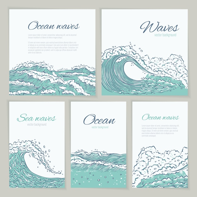 Set waves sea ocean card wedding, summer holiday and trip. flyer or poster big and small azure bursts splash with foam and bubbles. outline sketch illustration Premium Vector