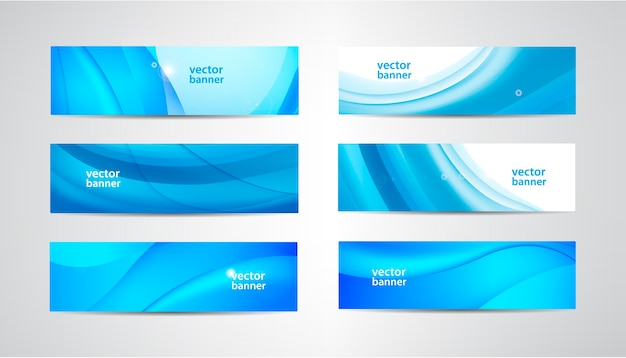 Set of wavy banners, blue wave web headers. water vibrant abstract background, horizontal orientation. Premium Vector