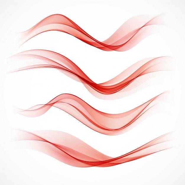 Set of wavy red banners Premium Vector