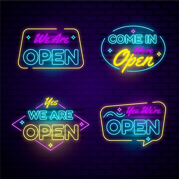 Set of we are open in neon lights Free Vector
