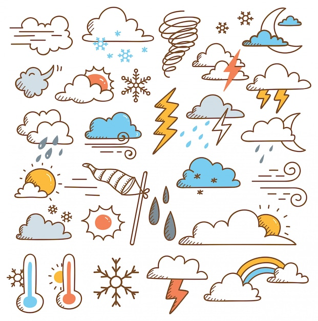 Set of weather doodles illustration Premium Vector