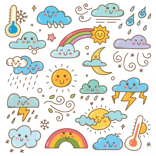 Set of weather doodles illustration Premium Vector