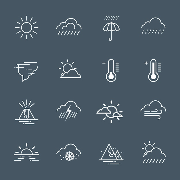 Set of weather icons on grey background climate forecast collection Premium Vector