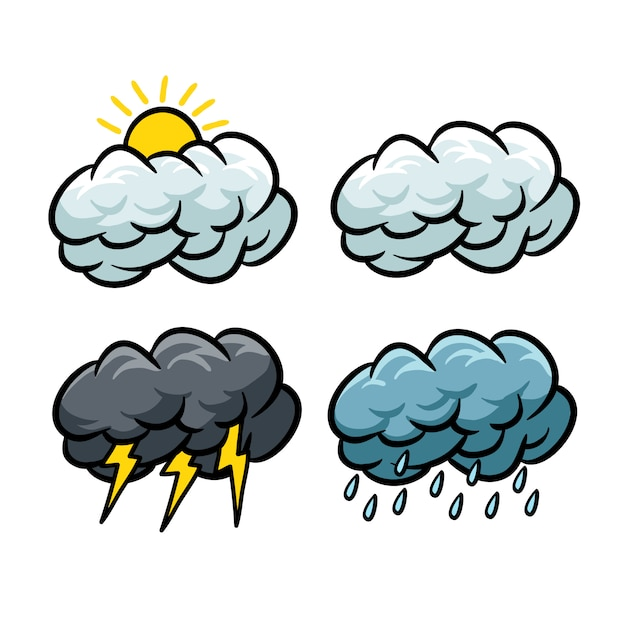 Set of weather icons with cartoon style Premium Vector