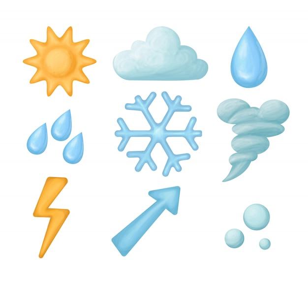 Set of weather icons Premium Vector