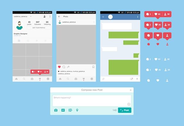 소셜 네트워크를위한 웹 애플리케이션 및 아이콘을 설정하십시오. 알림 아이콘 프리미엄 벡터
