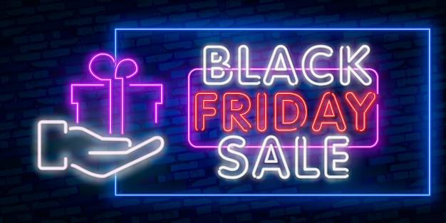 Set web banner black friday. neon sign. web banner, logo, emblem and label. neon sign, bright signboard, light banner. Premium Vector