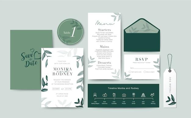 Set of wedding card template background Premium Vector