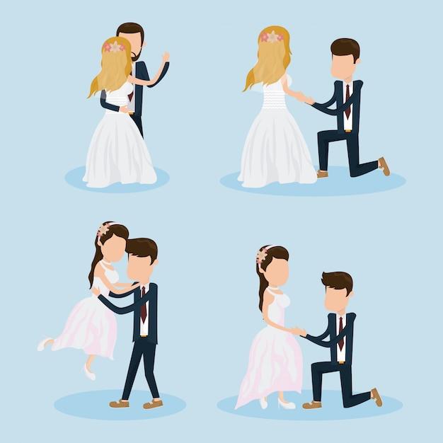 Set of wedding couple Premium Vector