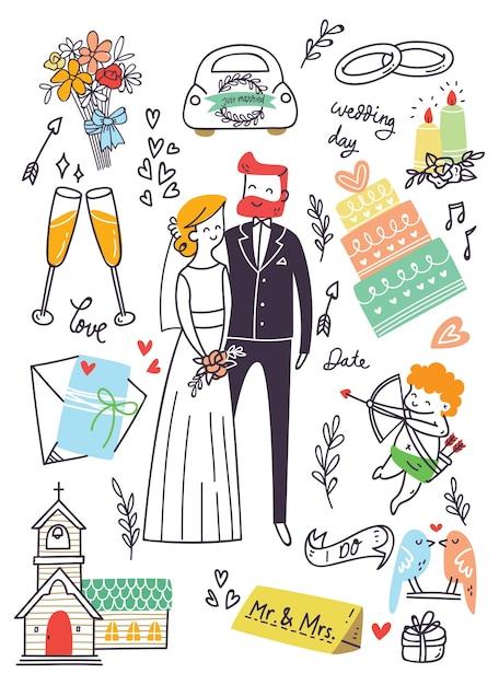 Set of wedding doodle Premium Vector