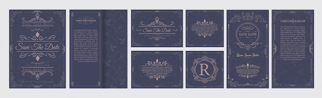 Set wedding flourishes ornaments Premium Vector