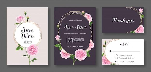 Set of wedding invitation card template. pink rose flower. Premium Vector