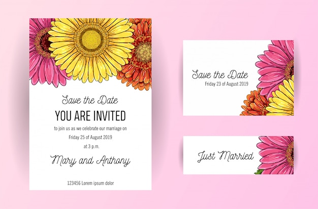 Set of wedding invitation card with flowers of gerbera Premium Vector