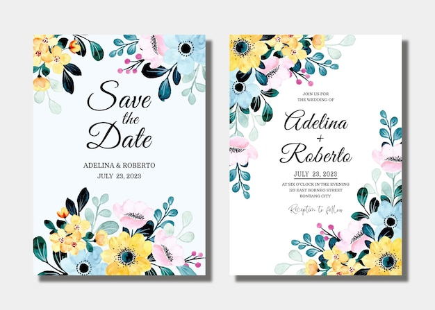 Set wedding invitation card with yellow blue floral watercolor